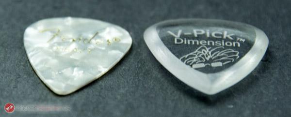 V-Pick Dimension Plektrum Höhenvergleich