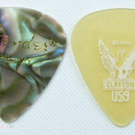 Clayton USA Plektrum Tropfenform Ultem Größenvergleich